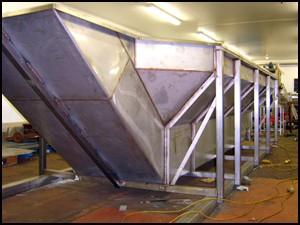 Stainless Steel fabricators making a hopper