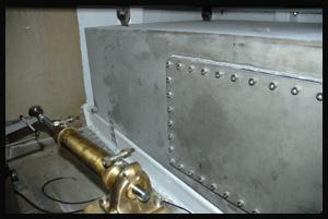 Stainless steel fuel tank on the boat