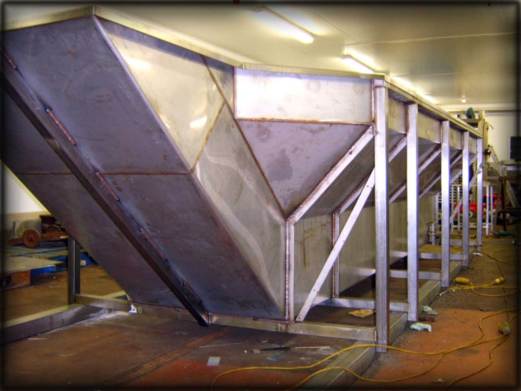 Stainless steel fabrication of storage hopper